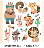 Set Of Cute Tribal Animals In...