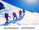group of climbers reaches the... | Shutterstock . vector #453905041