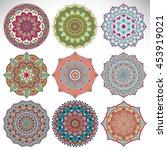 flower mandalas. vintage... | Shutterstock .eps vector #453919021