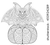 zentangle stylized bat on... | Shutterstock .eps vector #453924289