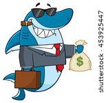 Smiling Business Shark Cartoon Mascot Character In Suit, Carrying A Briefcase And Holding A Money Bag. Vector Illustration Isolated On White Background
