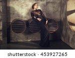 young girl in black vintage... | Shutterstock . vector #453927265