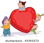 four funny kids with big red... | Shutterstock .eps vector #45393373