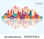 switzerland detailed skyline.... | Shutterstock .eps vector #453955501