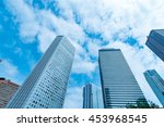 high rise buildings and blue... | Shutterstock . vector #453968545