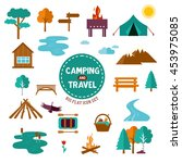 big set of camp and travel... | Shutterstock .eps vector #453975085