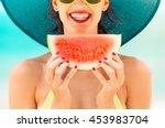 fun beach summer holiday... | Shutterstock . vector #453983704