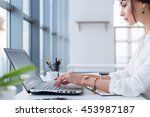 attractive female assistant... | Shutterstock . vector #453987187