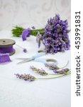 making fresh lavender bouquet... | Shutterstock . vector #453991831