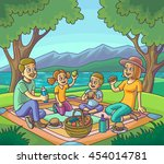 happy family having picnic... | Shutterstock .eps vector #454014781