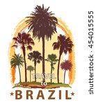 travel banner with palm trees... | Shutterstock . vector #454015555