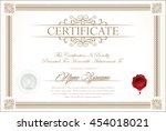 certificate or diploma template | Shutterstock .eps vector #454018021
