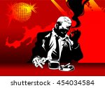 man in black suit sitting at... | Shutterstock .eps vector #454034584
