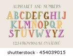 retro alphabet font. type... | Shutterstock . vector #454039015