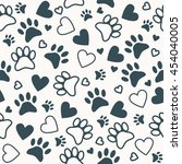 seamless pattern with paw and... | Shutterstock .eps vector #454040005