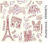 love in paris doodles | Shutterstock .eps vector #45404071