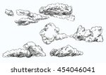 set of hand drawn clouds. | Shutterstock .eps vector #454046041