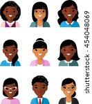 set of business avatar african... | Shutterstock .eps vector #454048069