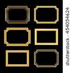 gold frame. beautiful simple... | Shutterstock .eps vector #454054624