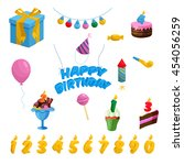 birthday icons set cartoon
