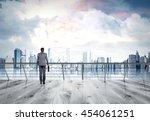 businessman in gray suit... | Shutterstock . vector #454061251