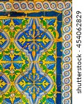 Small photo of SEVILLA, SPAIN, JANUARY 7, 2016: detail of a blue decorated tile famous for andalusia region in spain situated inside of the real alcazar palace in the spanish city sevilla.