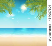vector summer background with... | Shutterstock .eps vector #454067809