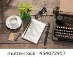 vintage typewriter on the old... | Shutterstock . vector #454072957