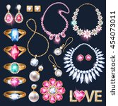 realistic jewelry accessories... | Shutterstock .eps vector #454073011