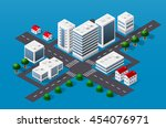 isometric 3d cityscape view of... | Shutterstock .eps vector #454076971
