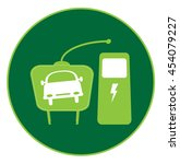 electric car icon with plug and ... | Shutterstock .eps vector #454079227