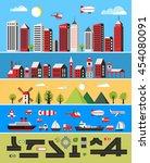 illustration of a flat city... | Shutterstock .eps vector #454080091