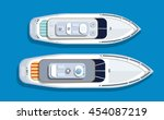top view pleasure boat tourist... | Shutterstock .eps vector #454087219