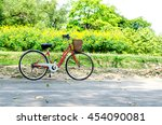 red bicycle in park. exersice... | Shutterstock . vector #454090081