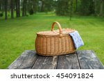 Picnic Basket With Blue White...
