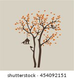 silhouette autumn tree with... | Shutterstock .eps vector #454092151