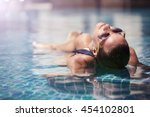 beautiful women relaxing at the ... | Shutterstock . vector #454102801