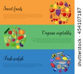 healthy  food banners with... | Shutterstock .eps vector #454107187