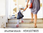 back view of beautiful toddler... | Shutterstock . vector #454107805