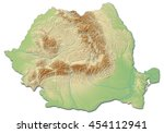 relief map of romania   3d... | Shutterstock . vector #454112941