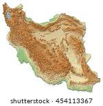 relief map of iran   3d... | Shutterstock . vector #454113367