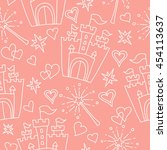 hand drawn seamless pink...   Shutterstock . vector #454113637