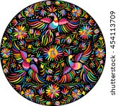 mexican embroidery round... | Shutterstock . vector #454113709