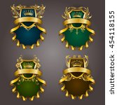 set of golden royal shields for ... | Shutterstock .eps vector #454118155