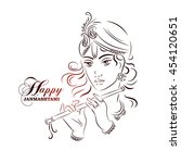 hindu young god lord krishna.... | Shutterstock .eps vector #454120651