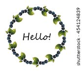 blueberry vector frame.  circle ... | Shutterstock .eps vector #454124839