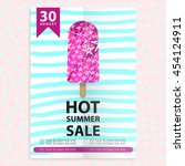 hot summer sale flyer with ice... | Shutterstock .eps vector #454124911