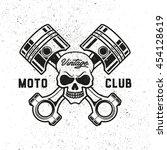 moto club. retro badge. skull.... | Shutterstock .eps vector #454128619