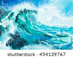 Watercolor Painting   Sea Wave