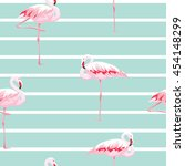 pink flamingo seamless pattern... | Shutterstock .eps vector #454148299